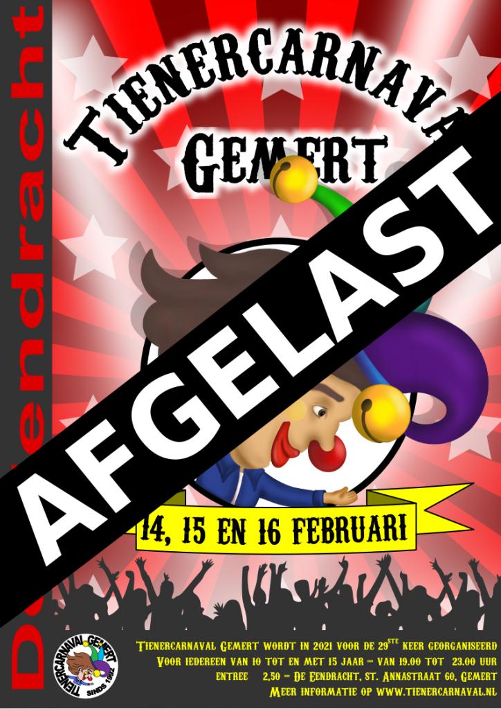 Poster 2021, Tienercarnaval voor het eerst afgelast